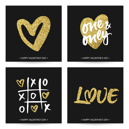 phrases: Set of love cards for Valentines Day or wedding. Hand brush lettering and golden sparkling hand painted hearts. Modern calligraphic design on dark background.