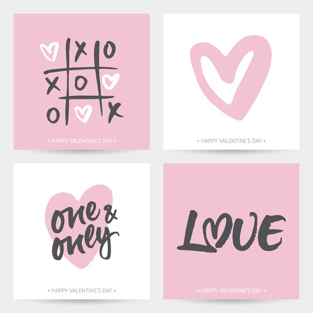 Set of love cards for Valentine's Day or wedding. Hand brush lettering and hand painted hearts. Modern calligraphic design.