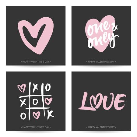 발렌타인 데이 또는 결혼식에 대한 사랑 카드의 집합입니다. 핸드 브러쉬 글자와 손으로 그린 마음입니다. 어두운 배경에 현대 붓글씨 디자인.
