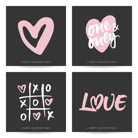 valentines: Set of love cards for Valentines Day or wedding. Hand brush lettering and hand painted hearts. Modern calligraphic design on dark background. Illustration