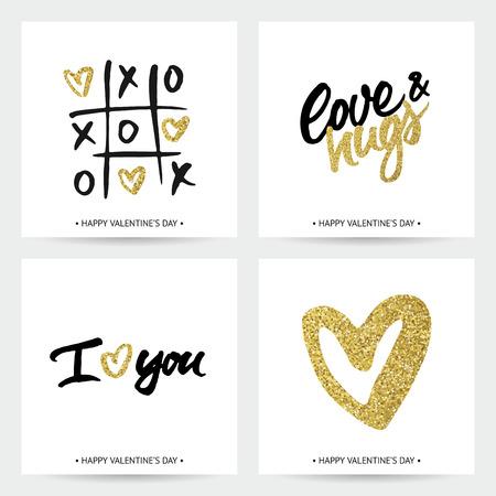 golden: Conjunto de tarjetas de amor para el día de la boda o de San Valentín. Mano cepillo de letras y corazones brillantes de oro. diseño caligráfico moderna.