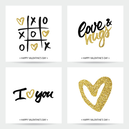 golden background: Set of love cards for Valentines Day or wedding. Hand brush lettering and golden sparkling hearts. Modern calligraphic design. Illustration