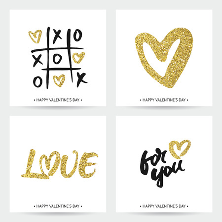 calligraphic design: Set of love cards for Valentines Day or wedding. Hand brush lettering and golden sparkling hearts. Modern calligraphic design. Illustration