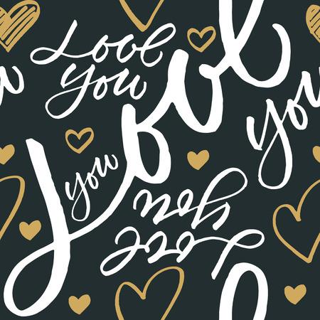 calligraphic design: Seamless pattern Love you. Handwritten calligraphic design. Illustration
