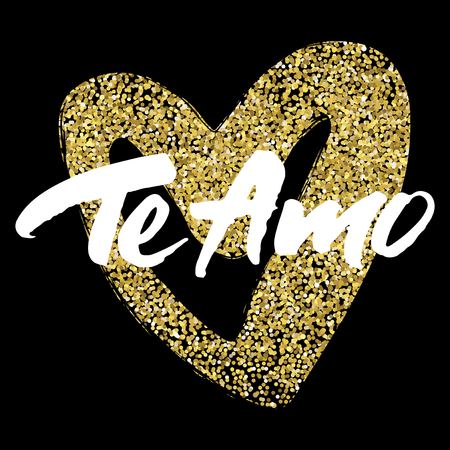 Love card design with hand brush lettering 'Te Amo' (which means I love you) on golden sparkling heart background.