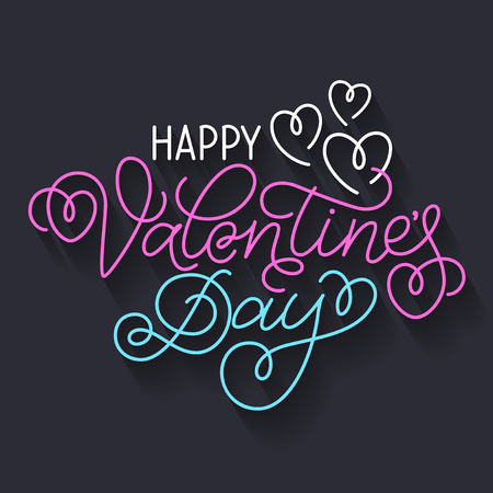 swashes: Greeting card design Happy Valentines Day. Colourful hand lettering with hearts and swashes on dark background.