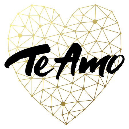 heart background: Love card design with hand brush lettering Te Amo (which means I love you) on geometric golden heart background.