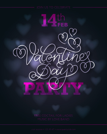 swashes: Valentines day party flyer or invitation design. White hand lettering with swashes on dark background with hearts and lights.