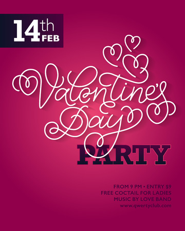 swashes: Valentines day party flyer or invitation design. White hand lettering with swashes on pink background.
