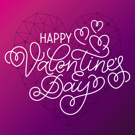 swashes: Greeting card design Happy Valentines Day. Hand lettering with hearts and swashes with geometric heart on violet background.