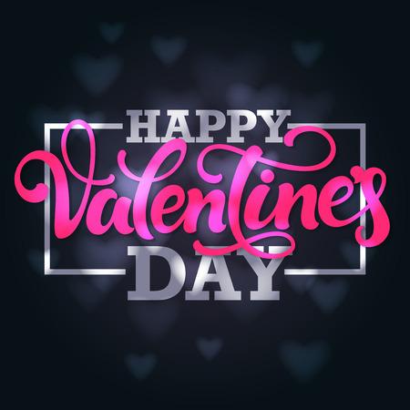 """rosa negra: El diseño tipográfico 'día de San Valentín feliz """". letras de la mano con la frontera de los corazones borrosos fondo oscuro. Vectores"""