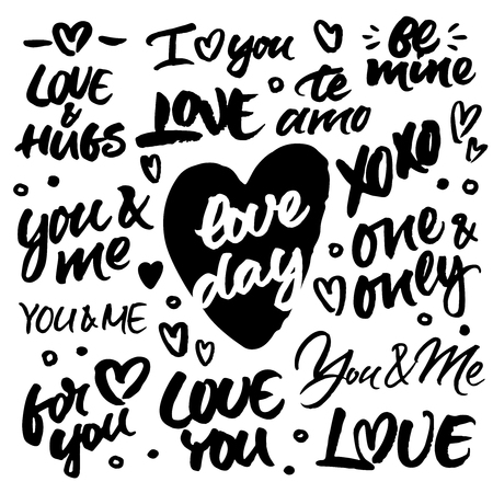 Set of hand brush ink lettering: Love and hugs, I love you, Be mine, Te amo, xoxo, Love day, You and me, One and only, For you. Modern brush calligraphy for love cards, wedding invitations and Valentine's day greetings cards and posters.