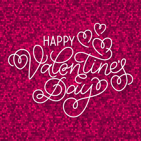 swashes: Greeting card design Happy Valentines Day. Hand lettering with hearts and swashes on sparkling pink background.