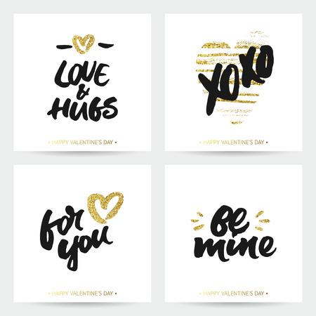 結婚式やバレンタインのカードが大好きです。刷毛塗装の心のインクと黄金の輝く手レタリングします。現代書道デザイン。