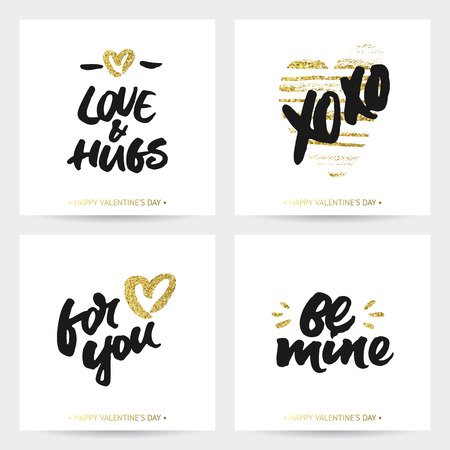calligraphic design: Love cards for wedding and Valentines day. Hand brush lettering with ink and golden sparkling hand painted hearts. Modern calligraphic design. Illustration
