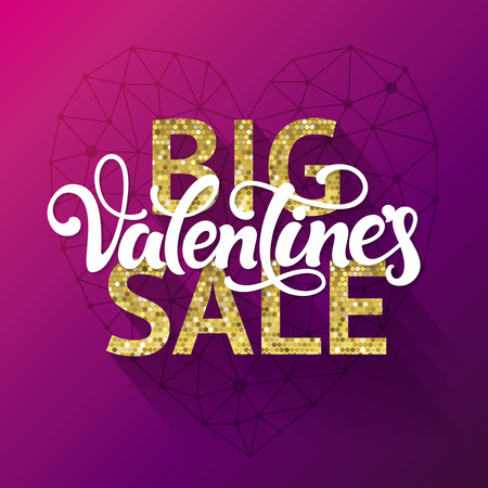 cut price: Big Valentines Sale. Special offer and discount poster for Valentines Day. Illustration