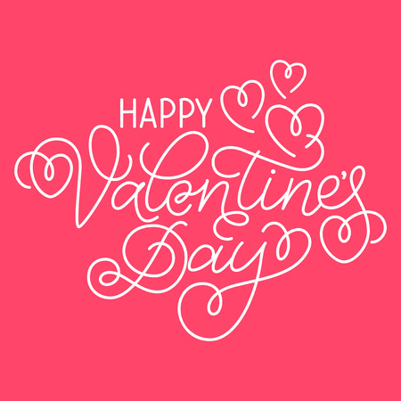 swashes: Greeting card design Happy Valentines Day. Hand lettering with hearts and swashes on bright pink background.