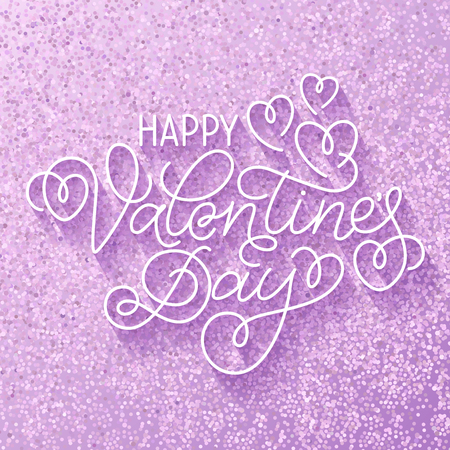 swashes: Greeting card design Happy Valentines Day. Hand lettering with hearts and swashes on sparkling light violet background.