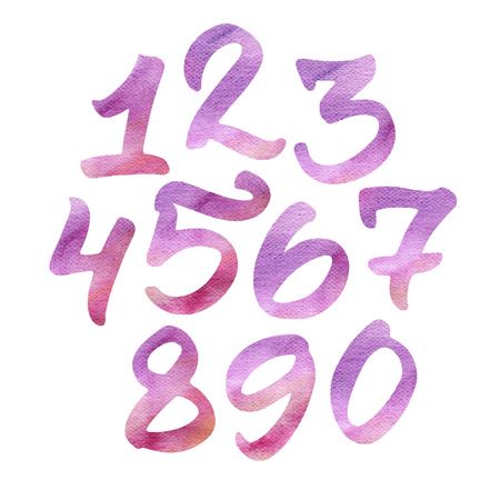 手描き水彩の数字: 1、2、3、4、5、6、7、8、9、0