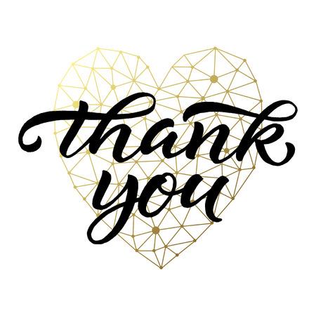 white heart: lettered Thank you card. Modern brush calligraphy on geometric golden heart background. illustration.