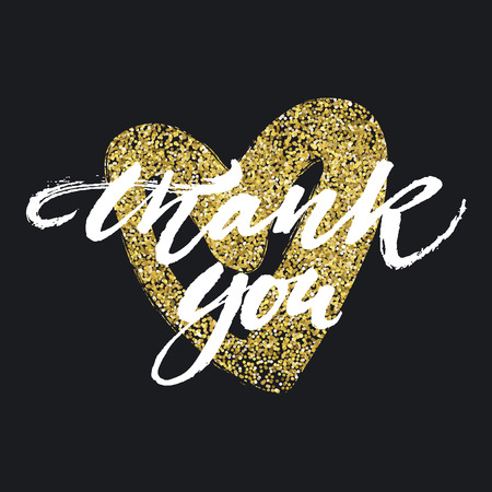 glitter hearts: Thank you card. painted brush lettering with golden heart on black background. Modern calligraphy. illustration. Illustration