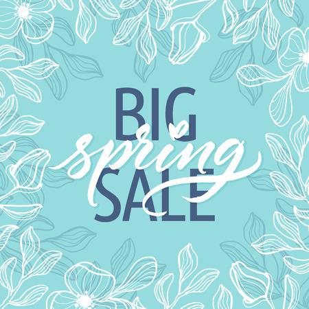Big Spring sale! Lente mooie moderne kalligrafie. Hand getrokken lente bloemen achtergrond. Vector Illustratie
