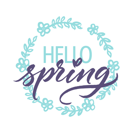 Hello spring! Hand painted simple floral wreath with modern calligraphy. Isolated on white or easy use.