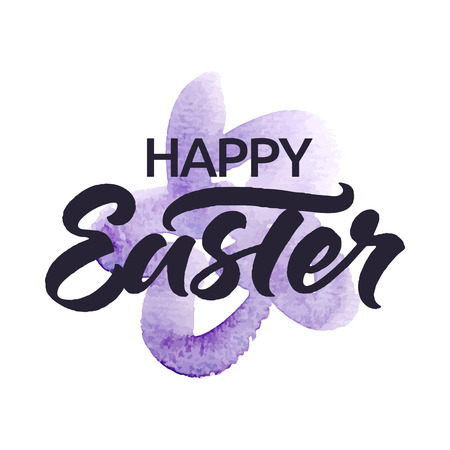 inscription: Happy Easter! lettering for greeting Easter card or poster. painted watercolor flower. Isolated on white.