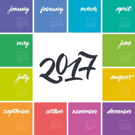 カレンダーの 2017 年。月と年の名前。1 月、2 月、3 月のブラシ レタリング 4 月、5 月します、6 月、7 月、8 月、9 月、10 月、11 月、12 月。 週は日曜  イラスト・ベクター素材