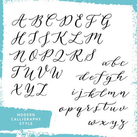 uppercase: Modern calligraphy style. script alphabet. Uppercase and lowercase letters. Illustration