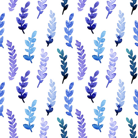 aquamarine: Seamless watercolor spring floral pattern. painted blue, violet and turquoise leaves background.