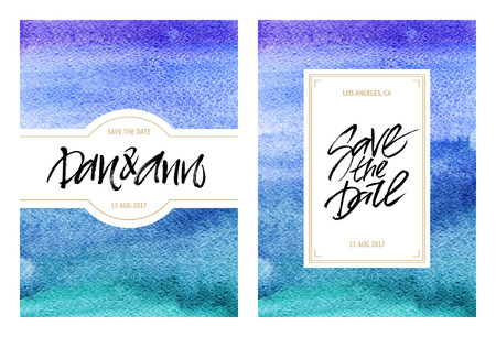 Watercolor templates of invitations, wedding cards or greeting cards. Wedding abstract sea design. White background for easy text replacement.