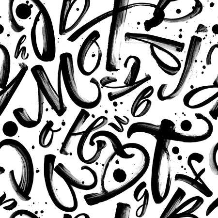hand painted: Seamless black and white pattern with painted letters and ink splatter. Monochrome typographic background.