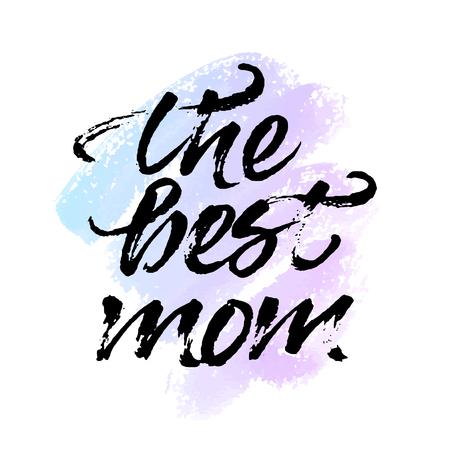 garabatos: tarjeta de felicitaci�n 'La mejor mam�'. Dibujado a mano del coraz�n de la tinta y las letras. Pintado a mano el fondo del coraz�n de la acuarela. Vectores