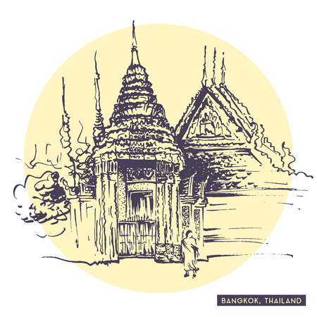 siam: Rough sketch drawing of Bangkok, Thailand. Thai monk walking near traditional Siam temple. Tourist postcard. Travel sketching collection.