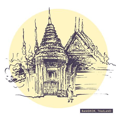 thai monk: Rough sketch drawing of Bangkok, Thailand. Thai monk walking near traditional Siam temple. Tourist postcard. Travel sketching collection.