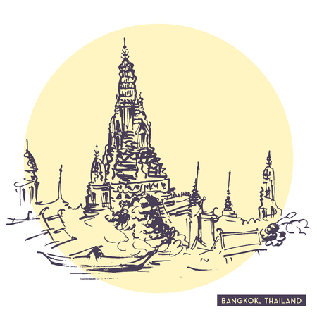 east river: Rough sketch drawing of old Siam temple near river in Bangkok, Thailand. Tourist postcard. Travel sketching collection. Illustration
