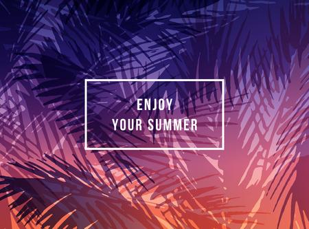 Tropische zonsondergang op de achtergrond 'Geniet van je zomer'. getrokken palmbladeren illustratie.