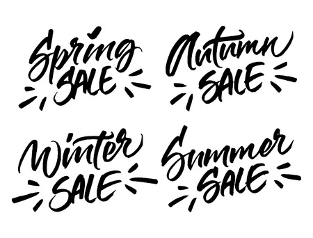 Set of handwritten season sale inscriptions. Winter, spring, summer and autumn sale vector hand lettering. Modern brush calligraphy isolated on white background.