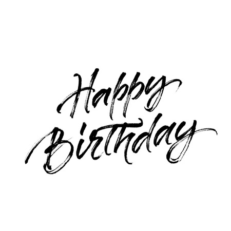 Happy birthday inscription with halftone effect. Inscription isolated on white background. Birthday greeting card or gift tag lettering.