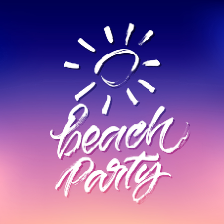 banner effect: Summer beach party design with halftone effect texture. Vector modern calligraphic design on gradient blue, violet and pink background. Lettering for summer party banner, poster, card and invitation. Illustration