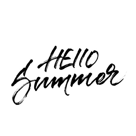 banner effect: Hello summer. Lettering with halftone effect texture. Vector modern calligraphic design isolated on white background. Inscription for summer banner, poster, card or party invitation.
