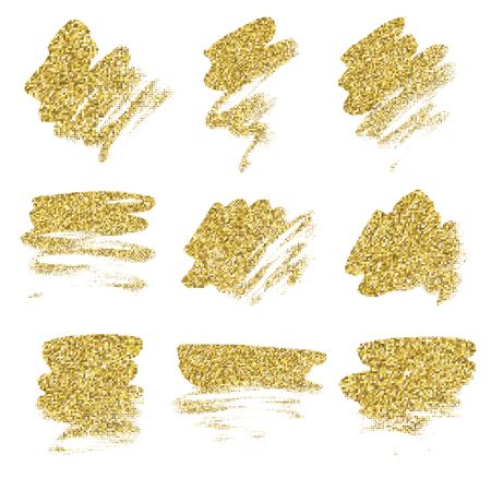 brush stroke: Set of golden glitter spots with halftone effect. Golden sparkling brush strokes isolated on white background.
