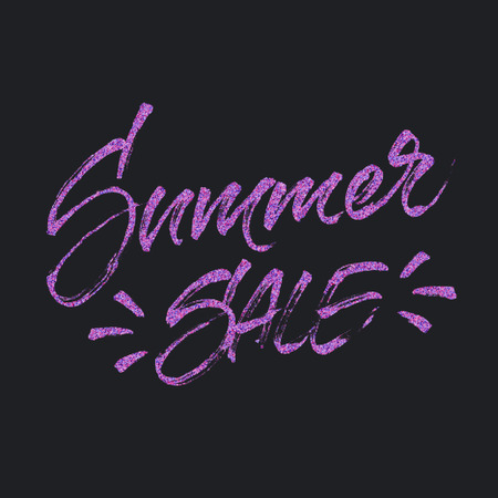 banner effect: Summer sale colorful confetti lettering. Handwritten inscription with halftone effect. Discount and special offer banner, card, poster or tag design. Modern brush calligraphy style.