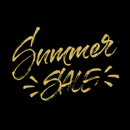 banner effect: Summer sale golden glitter lettering. Handwritten inscription with golden dots halftone effect. Discount and special offer banner, card, poster or tag design. Modern brush calligraphy.