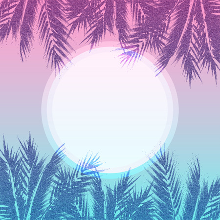 tropical paradise: Tropical paradise background. Palm tree leaves on sunset. Abstract summer holidays illustration. Illustration
