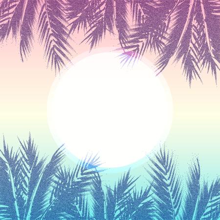 Fondo De Paraíso De Verano Tropical. Hojas De Palmera Con Efecto ...