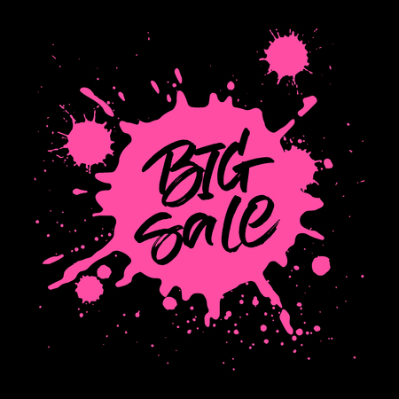 BANNER DESIGN: Big Sale handwritten inscription. Modern brush calligraphy on pink ink splatter background.  Handwritten lettering for sale tag, special offer banner or poster design.