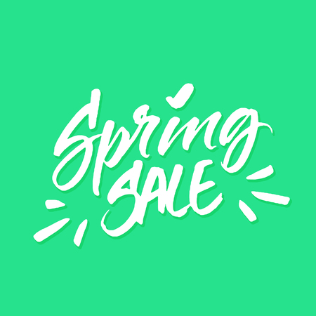 spring sale: Spring Sale inscription for special offer banners, season sale posters, discount tags. Handwritten brush lettering on green background. Illustration