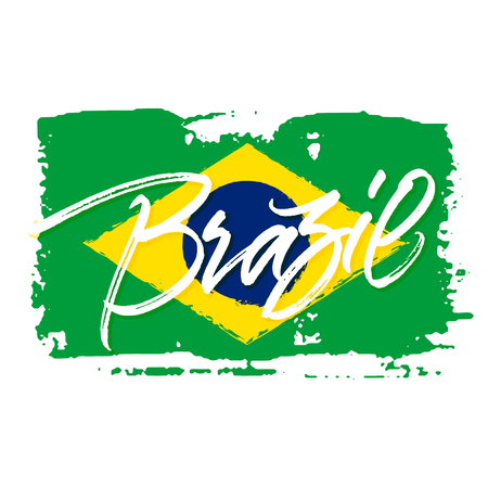 travel card: Brazil travel card with abstract brush painted brazilian national flag in green, yellow and blue colors. Handwritten brush calligraphy.